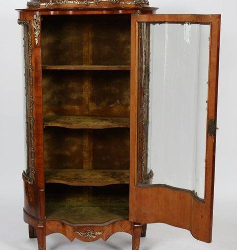 VERY NICE SHOWCASE MARKED NAPOLEON III  In veneer marquetry, with floral basket …