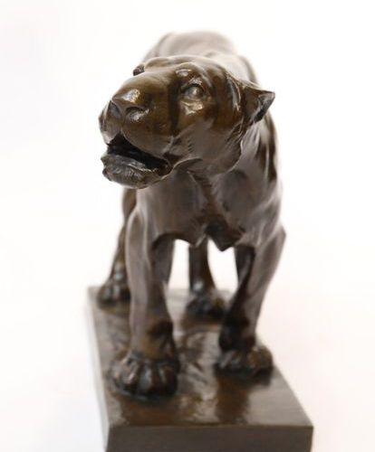 "BRONZE ""LA LIONNE"" by Josuë DUPON (1864 1935)  Very nice animal bronze with brow…"