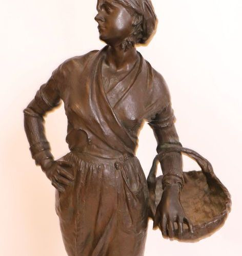 """BRONZE """"PAYSANNE AU PANIER"""" by Ernest Charles GUILBERT (1848 1920)  Large patina…"""