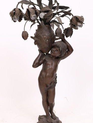 """IMPORTANT BRONZE LAMP """"AU PUTTO PORTANT UN VASE FLEURI"""" by Auguste MOREAU (XIXè …"""