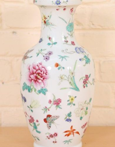 "BALUSTER VASE IN CHINA PORCELAIN OF THE ""ROSE FAMILY"".  With polychrome decorati…"