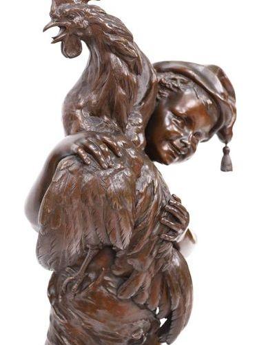 """IMPORTANT BRONZE """"JEUNE GARCON TENANT UN COQ"""" by Paul DUBOIS (1829 1905)  Bronze…"""