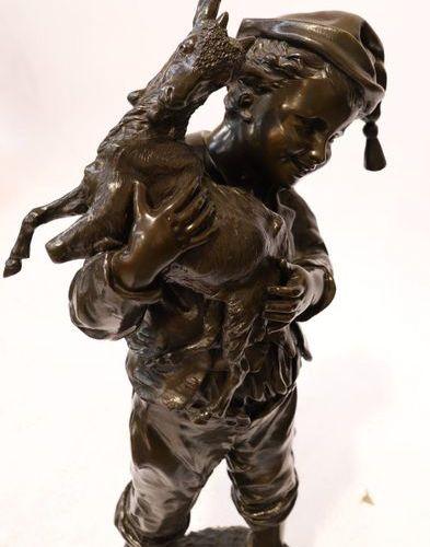 """IMPORTANT BRONZE """"JEUNE GARCON TENANT SON CHEVREAU"""" by Émile LAPORTE (1858 1907)…"""