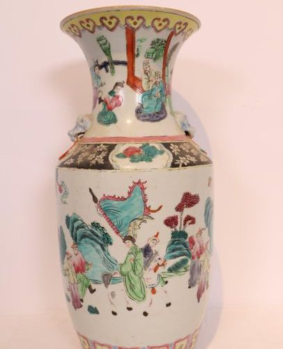 CHINESE PORCELAIN BALUSTRY VASE with polychrome decoration of scenes from court …