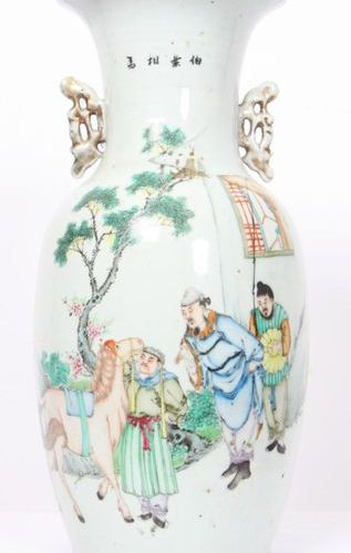 "BALUSTER VASE IN CHINESE PORCELAIN OF THE ""PINK FAMILY"".  Vase set at the neck w…"