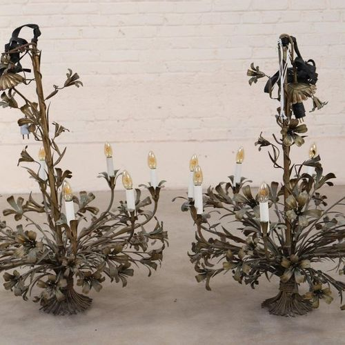 VERY NICE PAIR OF EIGHT LIGHT SHEET METAL CHANDELIERS  Made of gold plated sheet…