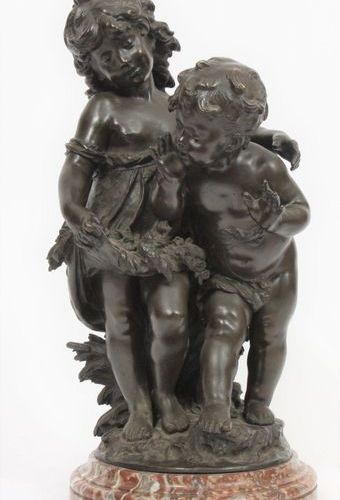 "LARGE GROUP IN BRONZE ""LES PETITS DENICHEURS"" by Auguste MOREAU (1855 1919)  Bro…"