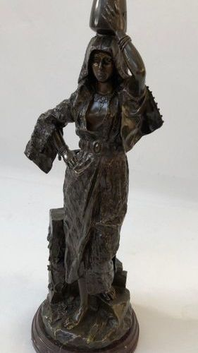 "VERY NICE ORIENTALIST BRONZE ""THE WATER CARRIER""   Group in patinated bronze rep…"