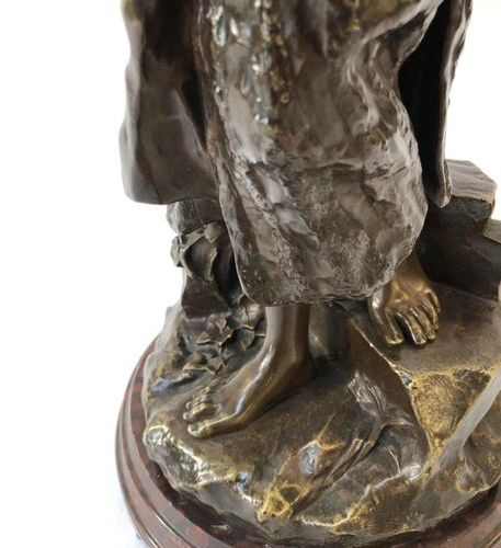 """VERY NICE ORIENTALIST BRONZE """"THE WATER CARRIER""""   Group in patinated bronze rep…"""