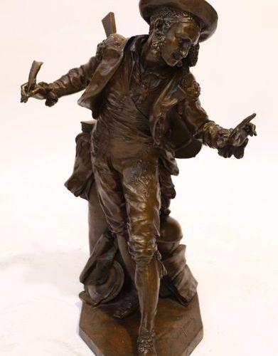 "VERY RARE BRONZE SCULPTURE REPRESENTING ""FIGARO"" OF Jean Baptiste CARPEAUX (1827…"