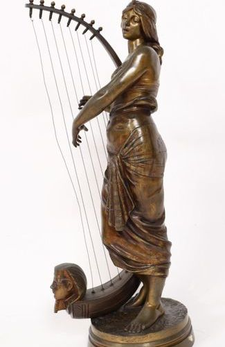 "VERY NICE EASTERN BRONZE ""THE EGYPTIAN HARPER PLAYER"" by Georges Charles COUDRAY…"