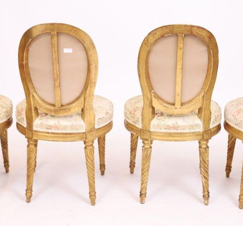 SUITE OF FOUR LOVELY LOUIS CHAIRS XVI  In gilded wood, with a cabriolet medallio…
