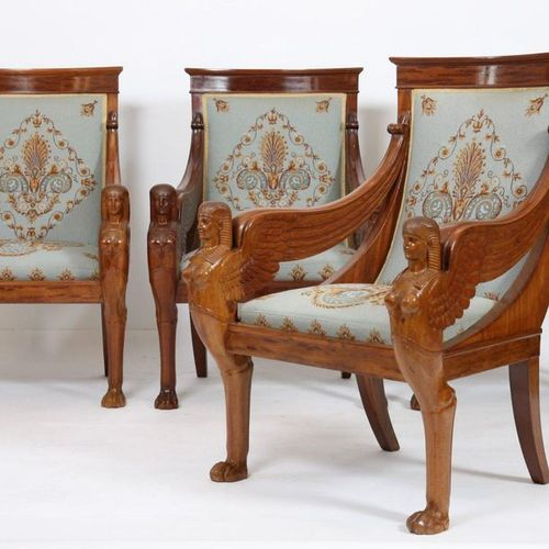 "EXCEPTIONAL EMPIRE PERIOD ""RETURN FROM EGYPT"" LIVING ROOM FURNITURE  Composed of…"