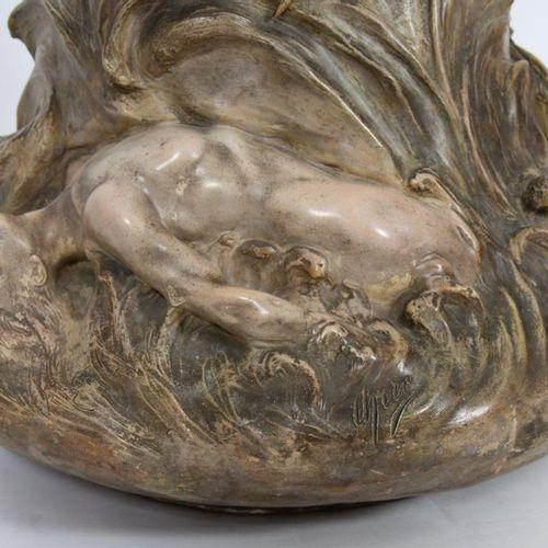"IMPORTANT ART NOUVEAU VASE FROM GOLDSCHEIDER'S ""CHERET"" SIGN.  Terracotta vase f…"