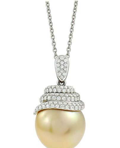 White gold pendant supporting an important round GOLD South See pearl 15,10 mm d…