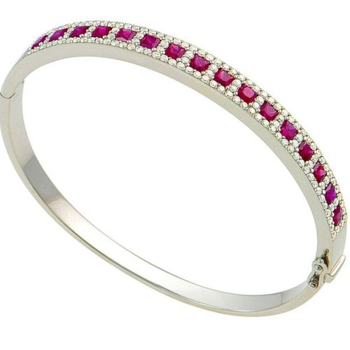 Oval white gold bracelet set with 16 princes cut Burmese rubies of exceptional c…