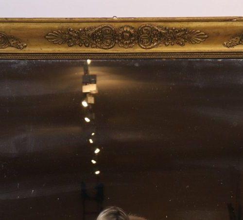 LARGE MIRROR RESTORATION MIRROR in gilded stucco wood  125.5 x 100 cm