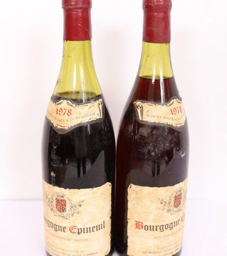 "LOT 2 BTES ""BOURGOGNE EPINEUIL"" 1978  High and low shoulder levels."
