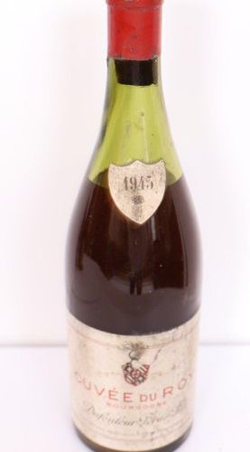 "1 BOX ""CUVEE DU ROY"" DUFOULEUR PERE & FILS BOURGOGNE ROUGE 1945  Low level."