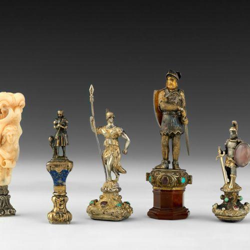 """Cachet """"Gladiateur"""" En bronze, serti d'améthystes et de cabochons de turquoises.…"""