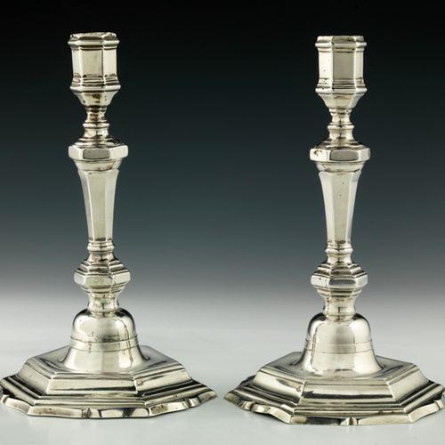 Paire de flambeaux en argent. Rennes 1736 1738 Maître Orfèvre : Jean Roysard, re…