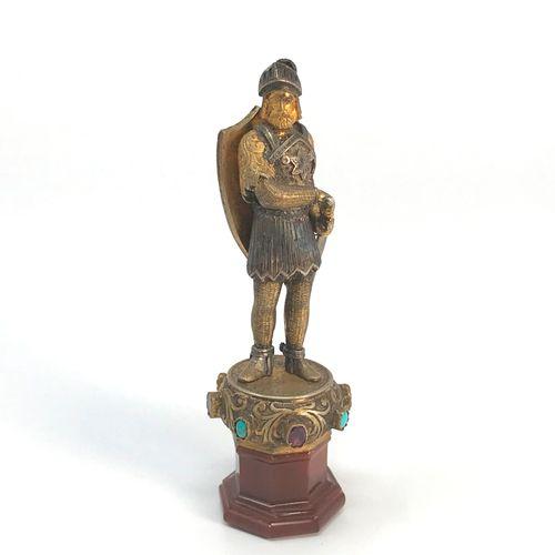 """Cachet """"Guerrier"""" En bronze doré et argenté, la base sertie d'améthystes et de t…"""