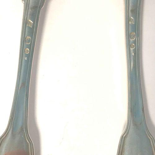 Quatre couverts en argent. Paris 1798 1809 Modèle à filets. Orfèvre : Jean Antoi…