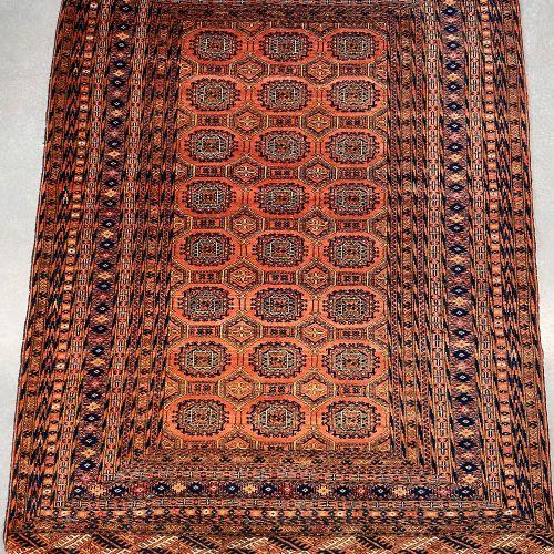 Fin Tekke boukhara en laine, Turkmen, vers 1975. Velours en laine sur fondations…