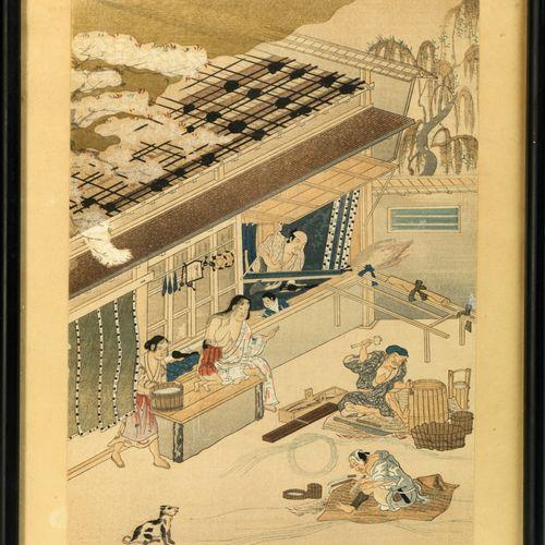 Estampe de Seiko Miyakawa Japon, XIXème siècle A décor de scènes de personnages …