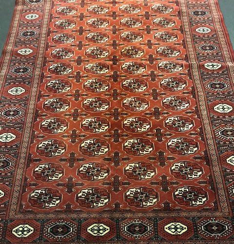 Fin Tekke Boukhara (Turkmen) milieu du XXe siècle. Champ brique à décor de semis…