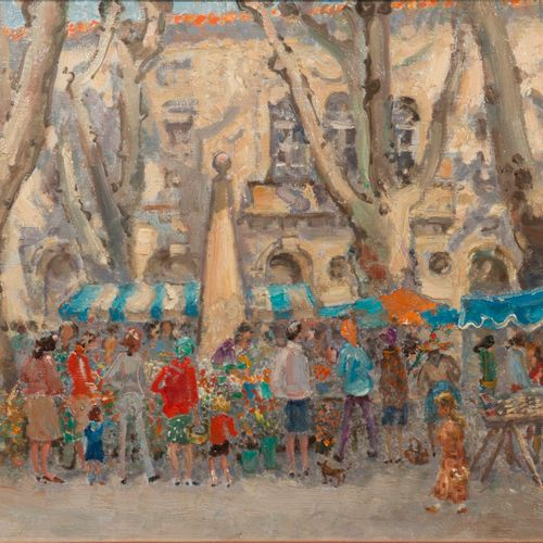 André HAMBOURG (1909 1999), Nice weather on the market on Wednesday  Oil on canv…