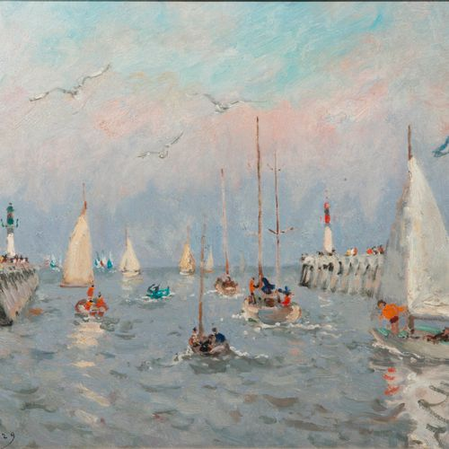 André HAMBOURG (1909 1999), Yachts at the opening of the doors  Oil on canvas si…