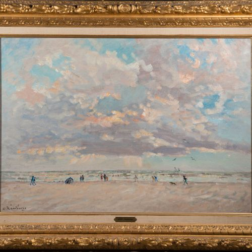 André HAMBOURG (1909 1999), Wind on the beach in September  Oil on canvas signed…