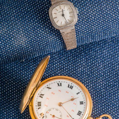 Montre de poche en or jaune 18 carats (750 ‰) le cadran émaillé blanc, les chiff…