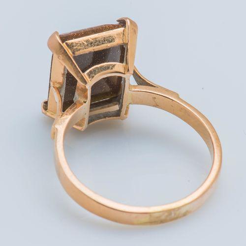 Bague en or jaune 18 carats (750 ‰) ornée d'une micro mosaïque rectangulaire fig…
