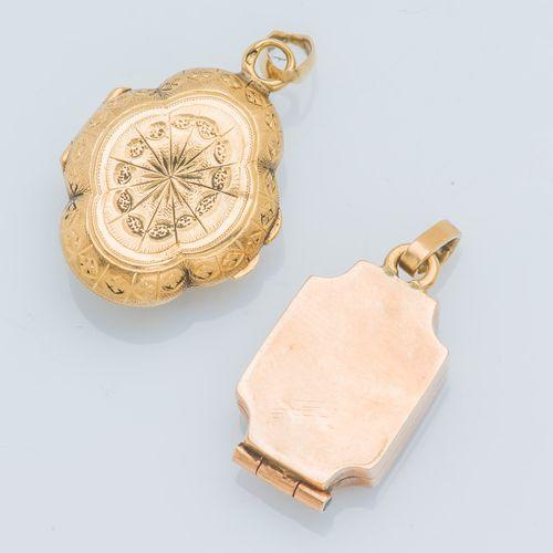 Lot de deux pendentifs ouvrant formant porte photo en or jaune 18 carats (750 ‰)…