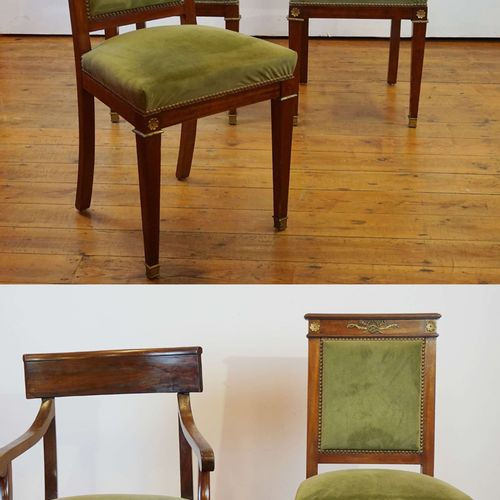 4 Empire style chairs and a mahogany armchair. 3 missing rosettes.