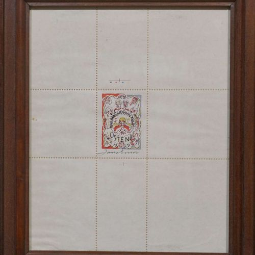 Ensor James Postage stamp of James Ensor after the poster of the Ostend carnival…