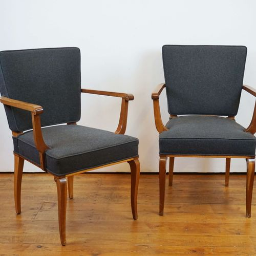 Pair of mahogany armchairs covered with anthracite felt. Circa 1940