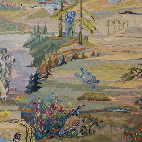 "SCHMETZ Betty Important tapestry signed Betty Schmetz ""Representation of emblema…"