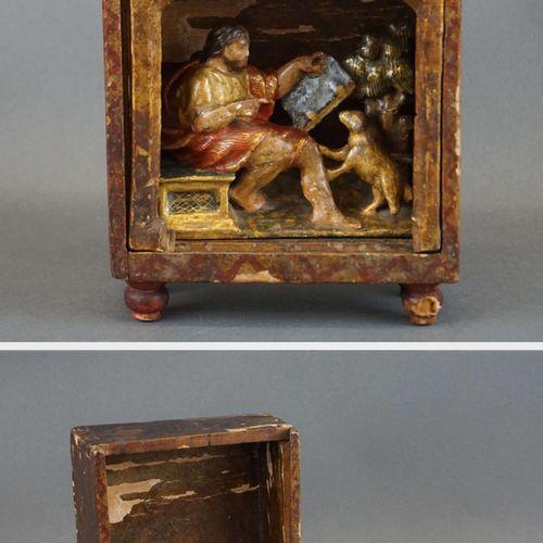 """Niche in polychrome carved wood """"Saint Roch"""". H : 22 cm W : 13 cm"""