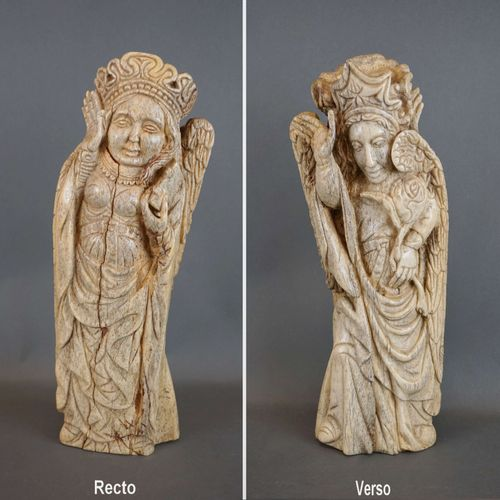 """Double sided bone sculpture """"The Virgin Mary"""" and """"The Angel Gabriel"""". Indo Port…"""