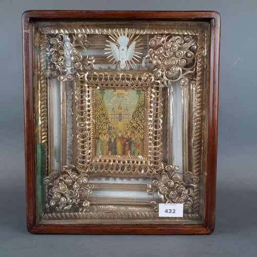 "Iconic image framed in silver and vermeil ""Assembly of all the Saints"". Missing.…"