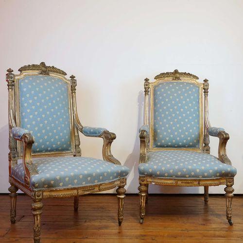 Paire de fauteuils Napoléon III en bois doré. H : 115 cm l : 67 cm P : 60 cm