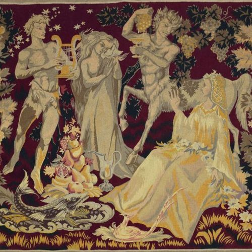 DEVECHE Scene of mythological characters signed lower right, tapestry 167x184