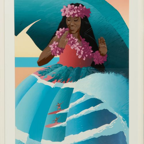 """AUSTER Ken  """"Hawaïenne"""" lithographie signée en bas à droite numérotée 20/45 74 x…"""