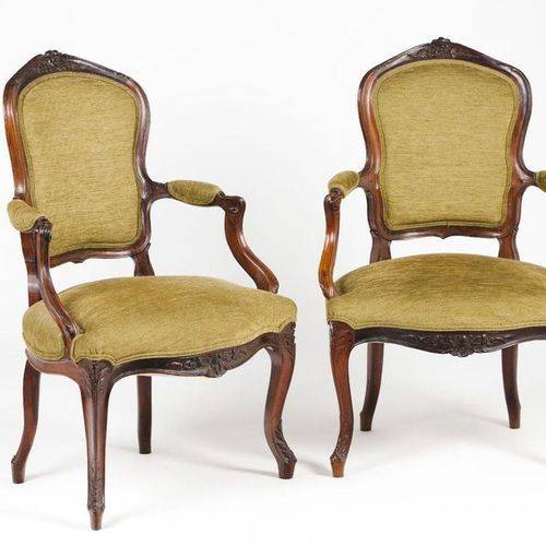 A pair of D.José fauteuils Carved rosewood  Chenille upholstered seat, backs and…
