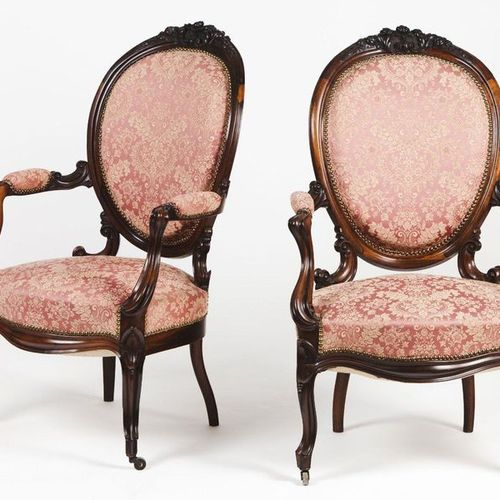 A pair of Romantic period fauteuils Rosewood  Floral carved decoration  Textile …