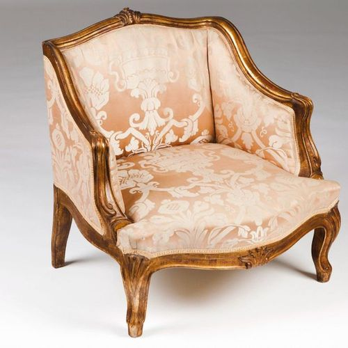 A miniature Louis XV style fauteuil Carved and gilt wood  Damask upholstery  Fra…