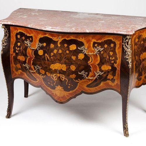 A pair of Louis XV style chests Rosewood, jacaranda and satinwood veneer  Two lo…